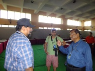 VU3ARF, SWL Sumit and VU2LNA at the venue, one day before the event.